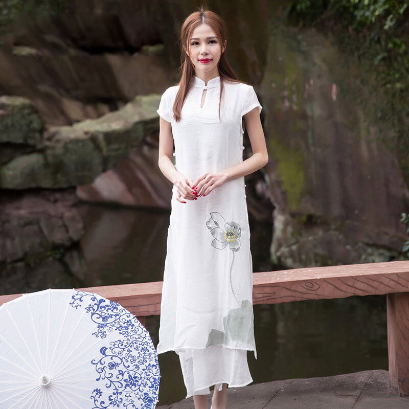 High quality cheongsam ladies embroidered dress