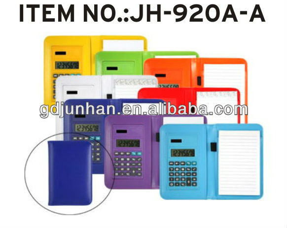 JH-920A-A foldable leather organizer calculator with pen and notebook