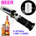 Free shipping Hand held S.G. 1.000-1.130 Wine wort beer brewing Refractometer 0-32%brix RSG-32ATC Brix refractometer