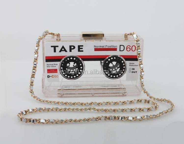 Personality transparent acrylic tape cassettes evening clutch bag hard box clutch small party purse handbags