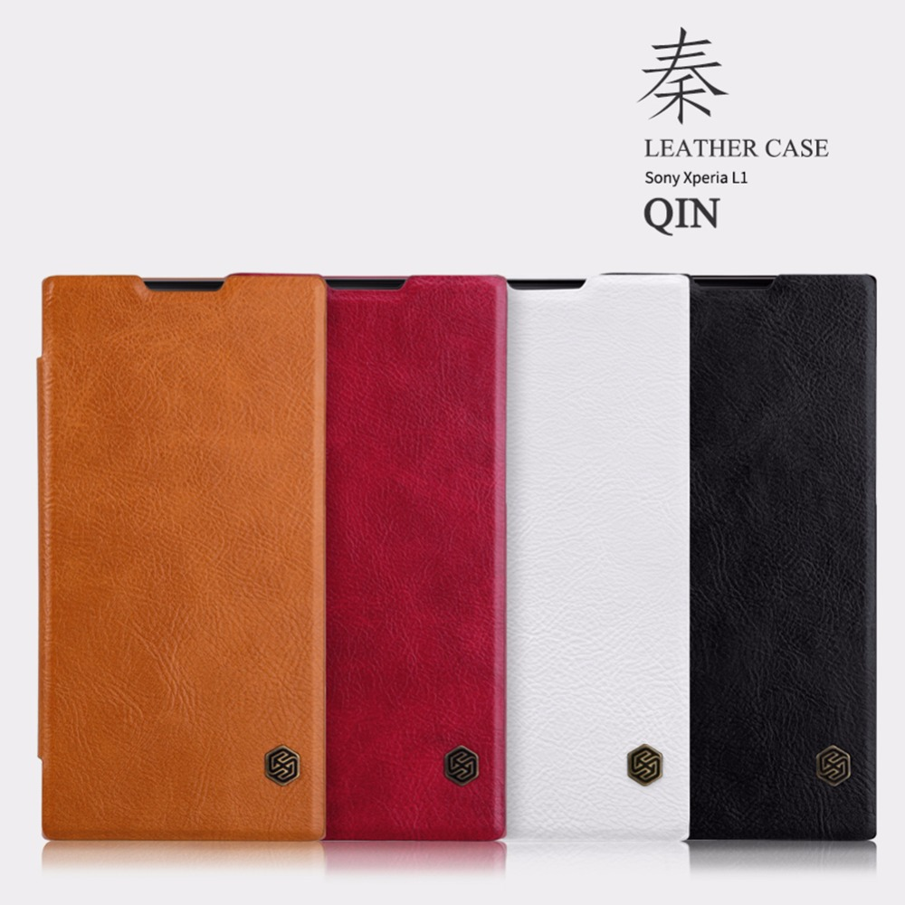 Nillkin Qin G3312 Mobile shockproof Phone Flip Leather Back cover case for Sony Xperia L1 cases