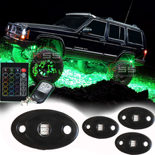 SUPER BRIGHT 4x Pods Wireless Music Controller RGB LED Rock Light Off road Jeep DRL SUV Truck