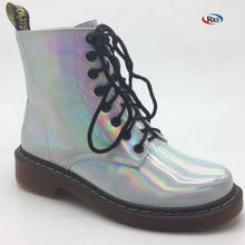 Popular Girls Winter Leather Holographic Silver Lace Up Ankle Boots Led Boots Light