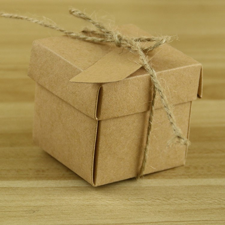 small brown kraft paper chocolate candy box with a cover