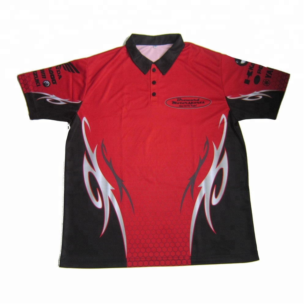 Sublimation Red Racing Pit Crew Shirt Wholesale