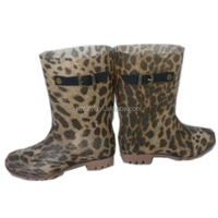 ladies sexy leopard print PVC rain boots with buckle,waterproof injection boots,OEM jelly shoes