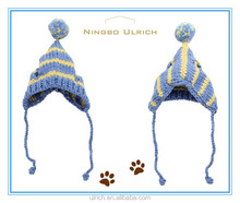 PH1606 fashion knitted colorful striped dog ear hats