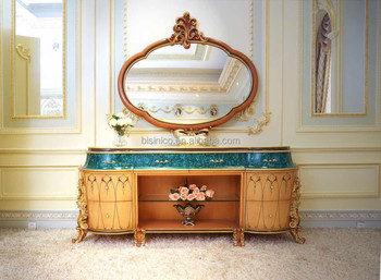 Latest Design Italy Dining Room Furniture Buffet Sideboard Cabinet With Mirror/ Antique Elegant Wooden Carved Cupboard