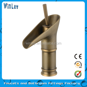 Bathroom Low Washbasin Faucet Antique Brass Oil Rubbed Bronze Faucets Waterfall Sink Tap Torneira Banheiro