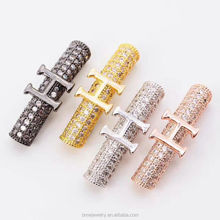 Fashion Copper Spacer Beads Lady Jewelry Hand-Made Bracelet Fitting Micro Pave CZ Classic Design H pattern Curved Tube Beads