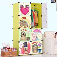 DIY Portable Plastic Wardrobe Closet Cartoon Design Children Cupboard FH-AL0029-8