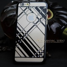 wholesale hard pc transparent Electroplate back case cover for iphone 6 with diamond, leabon tech
