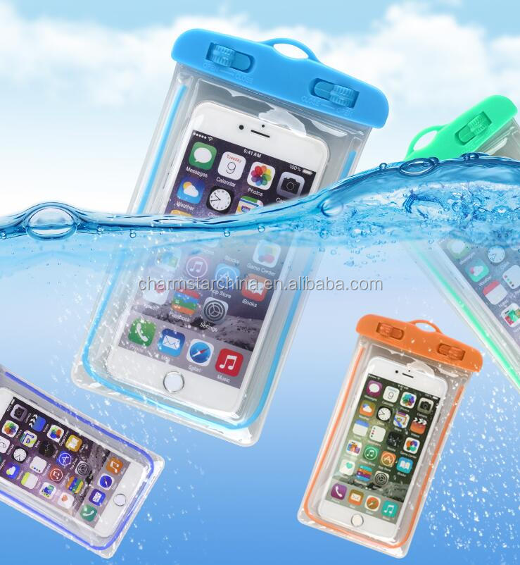 upgrades luminous thickened PVC high transparent swimming mobile phone waterproof bag for drifing surfing