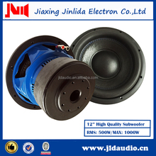 Good price 12 inch speaker bright blue painting 500w rms power car subwoofer