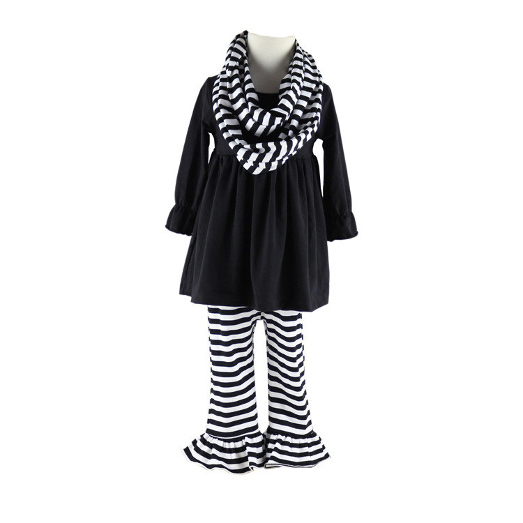 New styles black dress baby ruffle pants kids fall outfit wholesale spring girl clothing