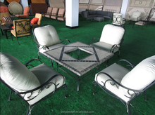 patio furniture square marble fire pit table set