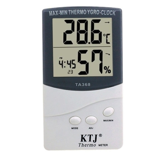 Hot selling TA368 ABS Digital LCD Outdoor / Indoor Temperature Hygrometer Thermometer With Clock