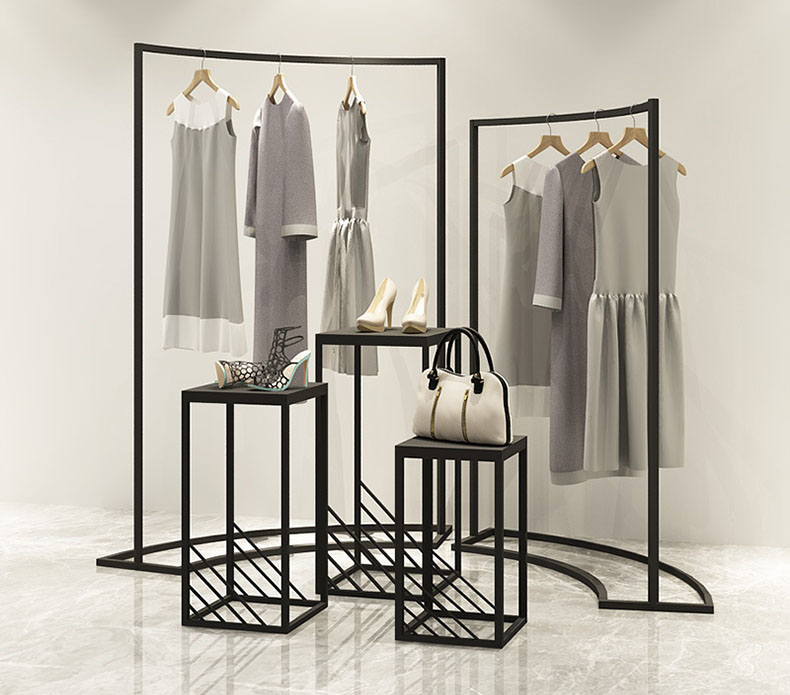 Fashionable Black Men Woman Boutique Garment Display Stand Retail Store Clothing Racks