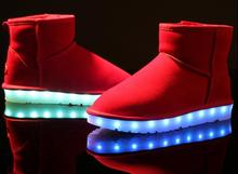 led light up usb chargeable ladies genuine leather women short ankle snow boots