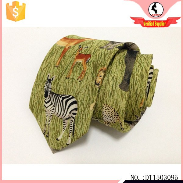 Zoo animal tie twill cotton customized tie manufacturers