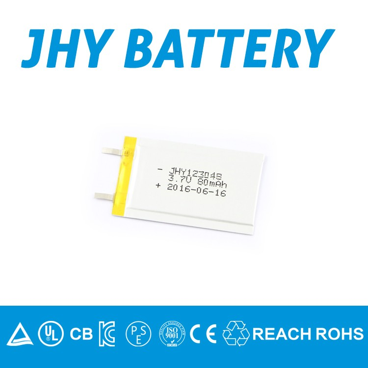 lithium polymer battery 3.7v 80mah 123048 rechargeable lithium ion battery for Bluetooth Earphone/headphone
