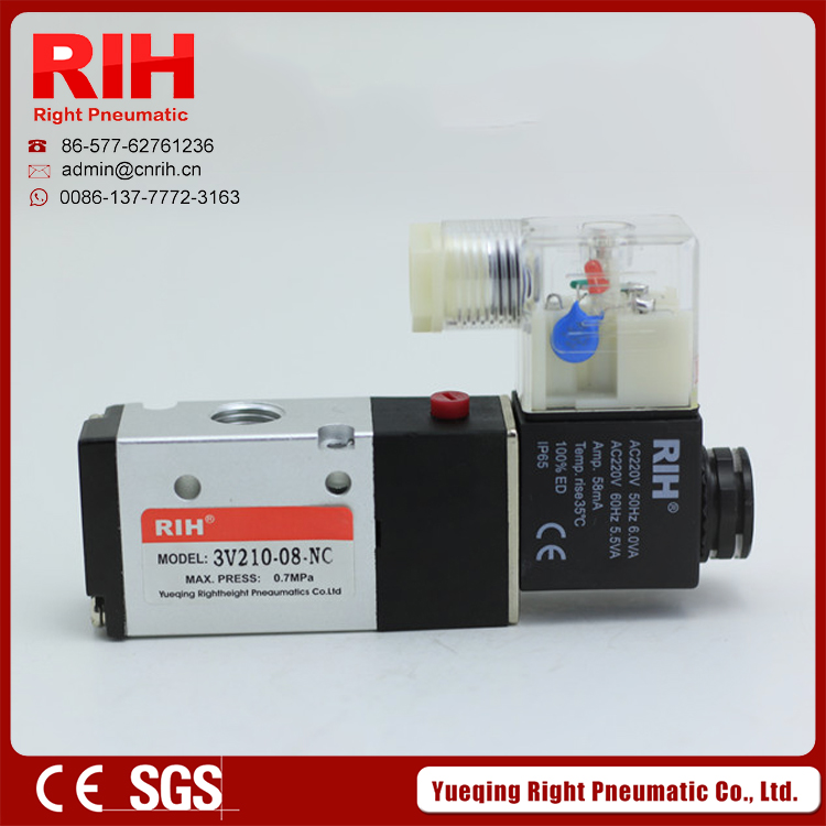 RIH pneumatic 3 way 3V210-06 inner guide Solenoid Valve 1/8'' 24V factory CE