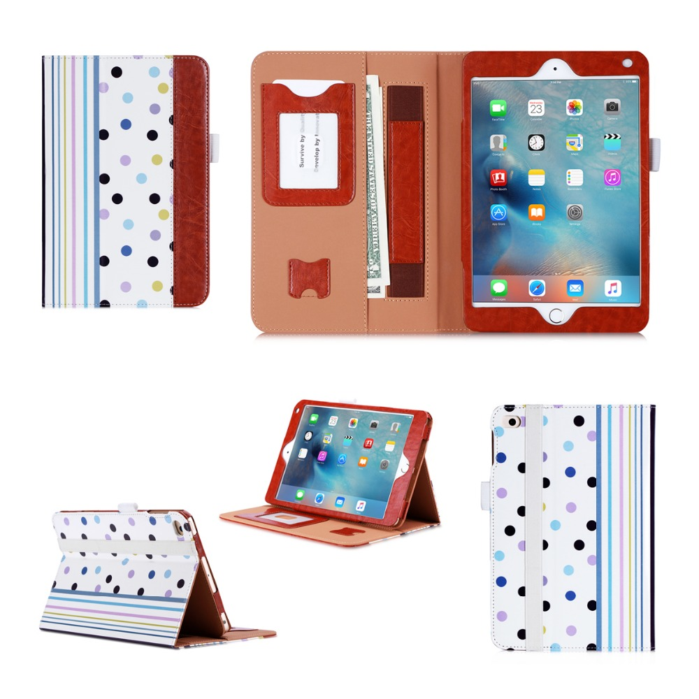 Fancy Look Protective Cover With Card Slot Leather Tablet Stand Case For iPad Mini 4