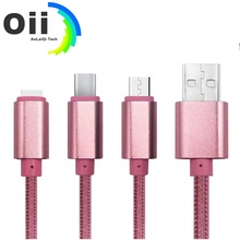 3in1 USB Cable for iPhone <strong>X</strong> 8 7 6 . Micro USB Type C for Android Fast Charging Cable 2A Charger Cord,Nylon braided usb cable