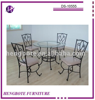 dining room furniture/glass top dining table/metal tube dining chairs