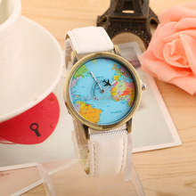 Popular World Map Watch Travelling Airplane Watch Demin Strap Women Wrist Watch Cheap Stock