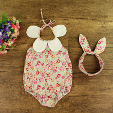 European summer baby clothes, baby jumpsuit, baby girl romper with short and headbands