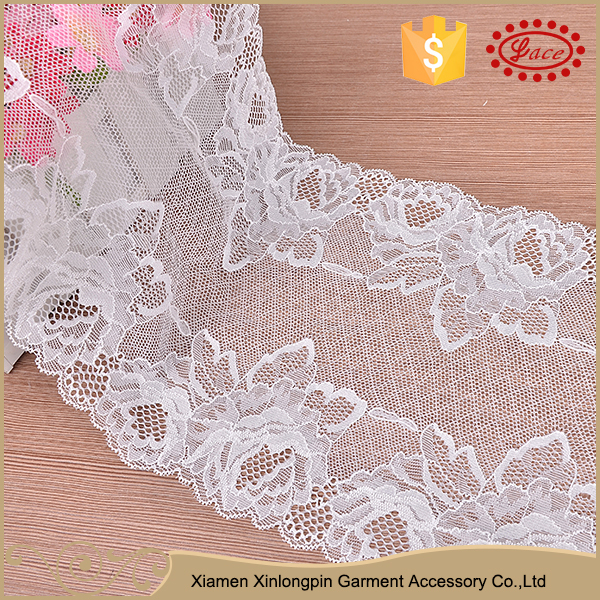 Cheap custom 18cm white spandex expensive lace fabric for dress