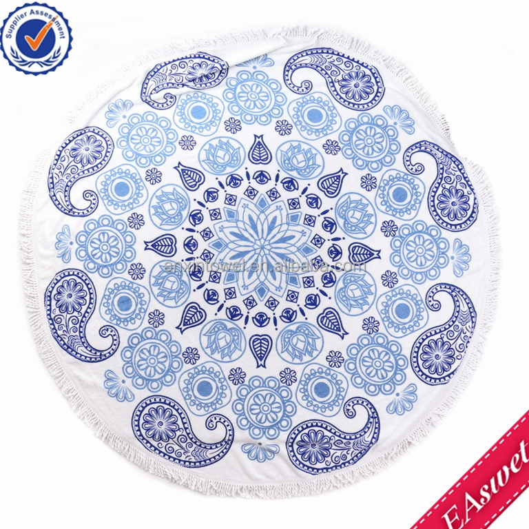gift hot sale 100% organic cotton photo printed terry microfiber beach towel round beach towel