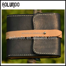 Trifold Top Stitching Color Blocking Flap Buckle Closure Man Leather Wallet