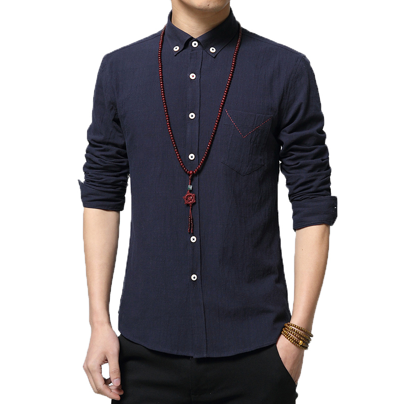 2016 new style high quality pure color men's casual dress shirts flax