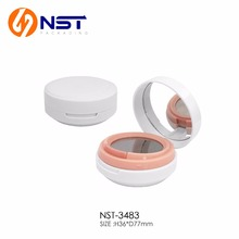 White round plastic bb cosmetic powder case with pink button