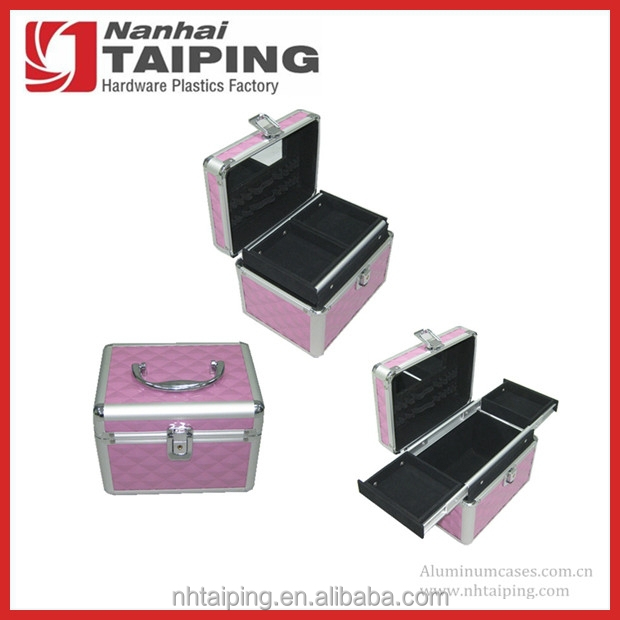 Pink Diamond Print Aluminum Cosmetic Case Vanity Box