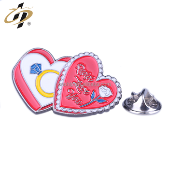 Promotional die struck soft enamel custom heart metal flower pins