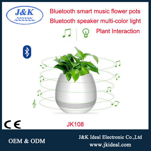 JK108 Factory best price Waterproof Smart Music plastic Flower pots with bluetooth speaker