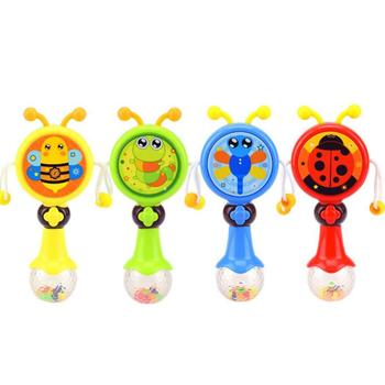 Newest Product Funny Cartoon Animals Toys Shaking Bell Toys Baby Rattle Drum With Music Stick