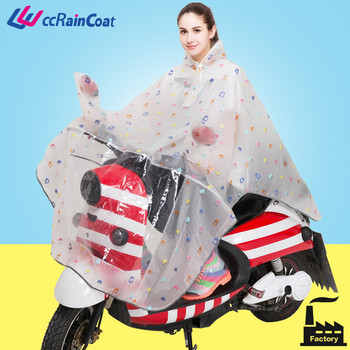 eva women raincoat for biker in clear transparent color nice printing