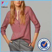 Trade Assurance Yihao 2015 New Women' Leisure Casual Leaves Print Shirt Blouse