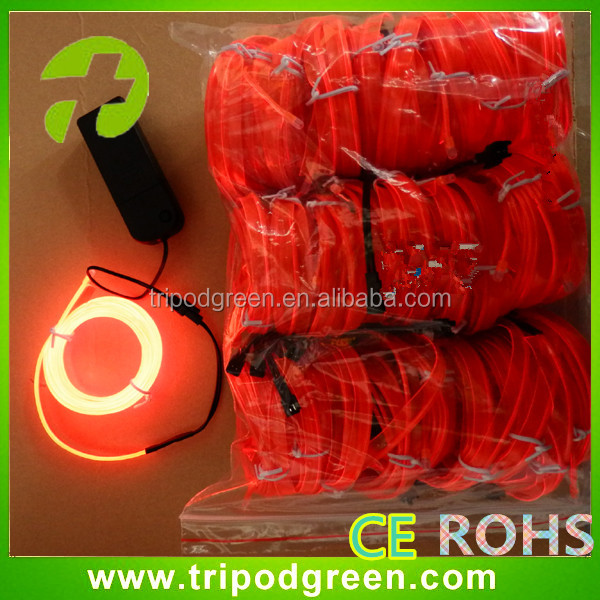 Supply 2.3mm dia el welted wire for clothes,high brightness sewable 3m el wire