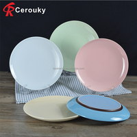 Custom various size hotel restaurant decorative ceramic dinner plate / dishes