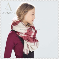 Hotable cream and red color fashion tartan winter scarf