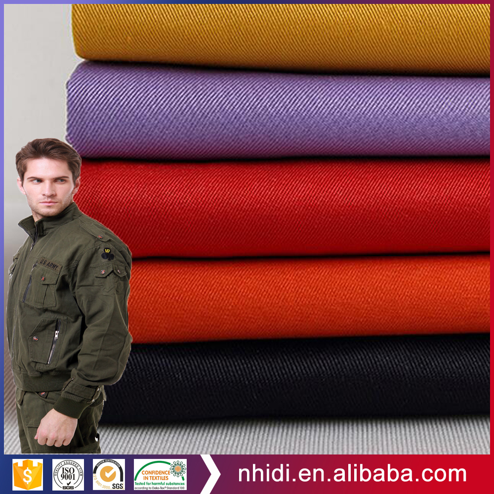 Jacket textile material CVC 60 cotton 40 polyester twill fabric dyed