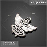 RW6442-894 ancient silver wings English word pattern long skirt love little angel portrait key ring mied batch of alloy