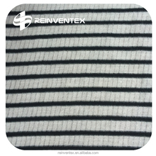 Stripe rib knitted fabric for dress, garment, polyester/rayon/spandex 65%/27%/8%,s