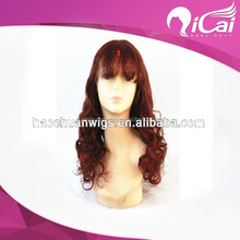 Fashionable long wave red color brazilian glueless full lace wig with bang for black women