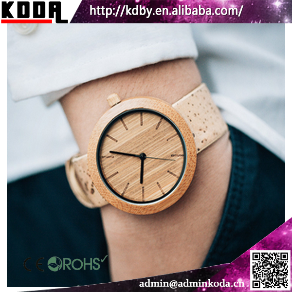100% Bamboo Watches With Special Cork Strap Custom Wood Watches